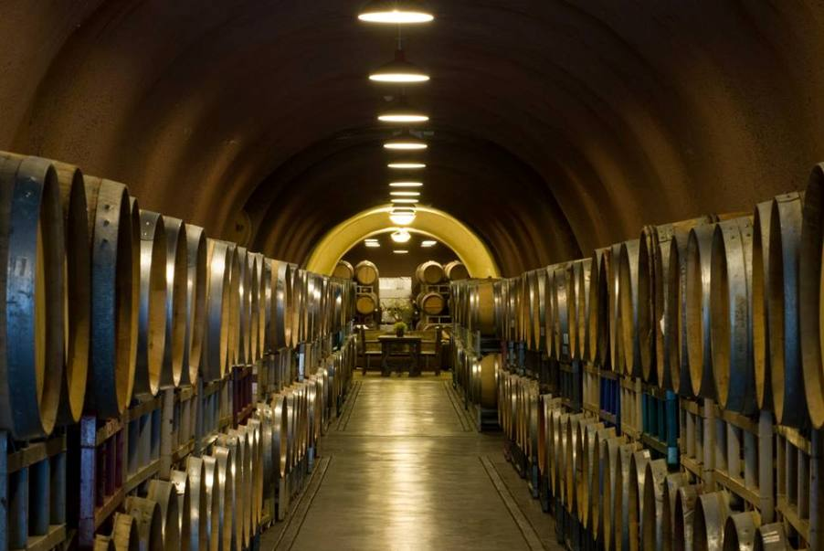 Wine Barrels Inside the WIne Cave at Deerfield Ranch Winery