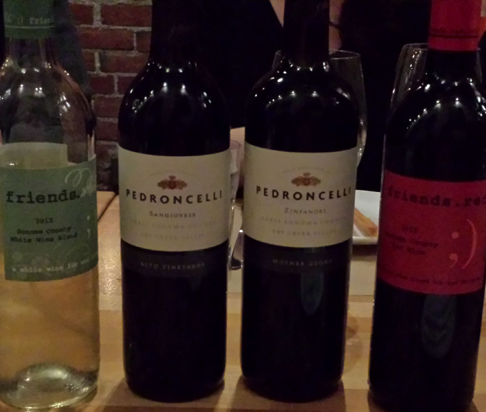 A Variety of Pedroncelli Wines Tasted at the Winemaker Dinner