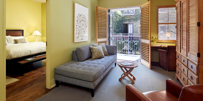 The Hotel Healdsburg Platinum & Ultimate Pigs & Pinot Packages Offer Lodging in a Plaza or Courtyard Suite (Courtyard Suite pictured)