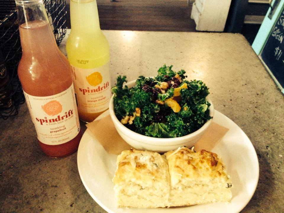 Big Bottom kale salad and a cheddar thyme biscuit, with all natural sodas in sparkling grapefruit or orange mango from Spindrift in Healdsburg.