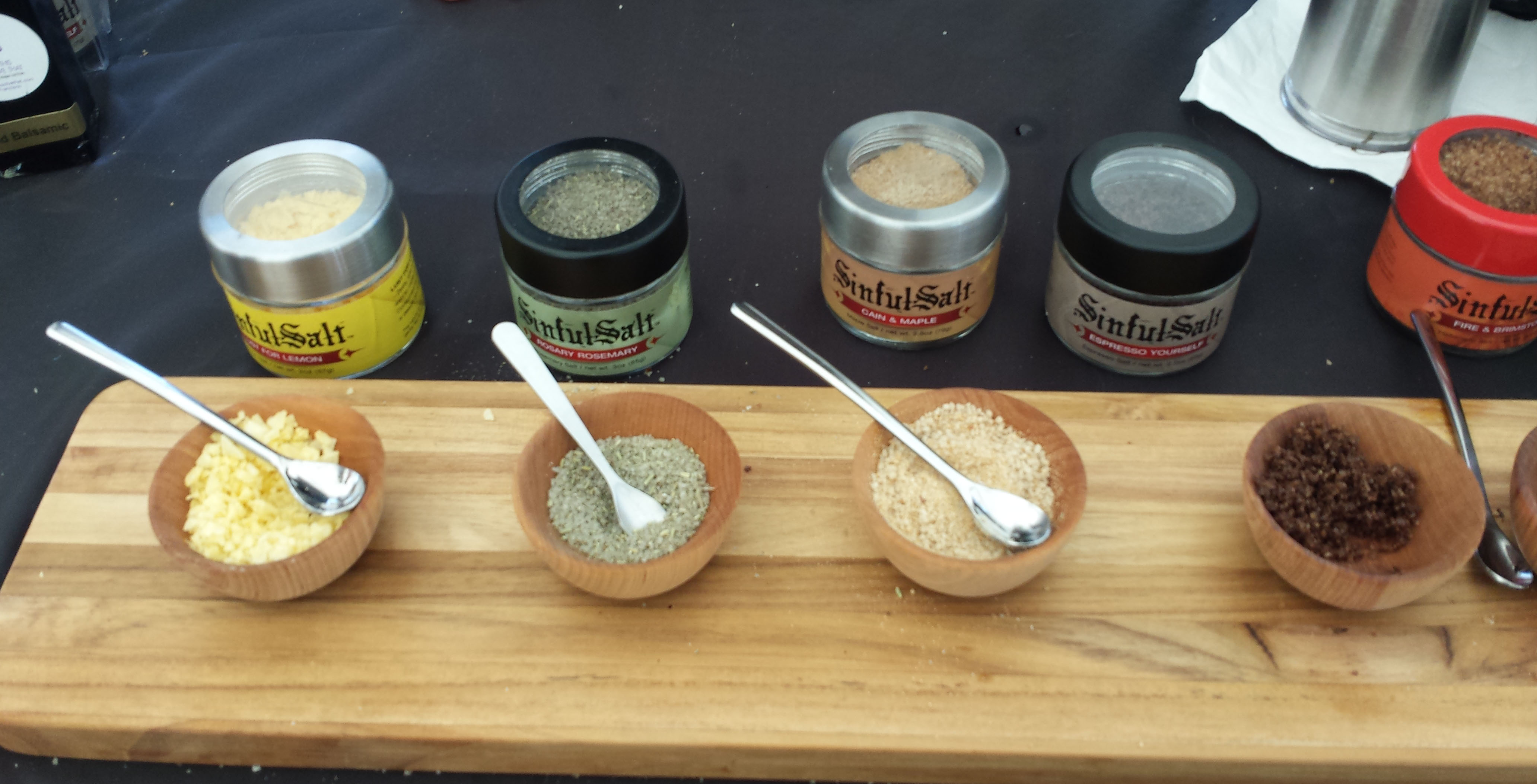 Sinful Salt: Flavors included Rosemary, Lemon, Maple, Espresso, & Habanero. The Espresso & Habanero were Served on Chocolate