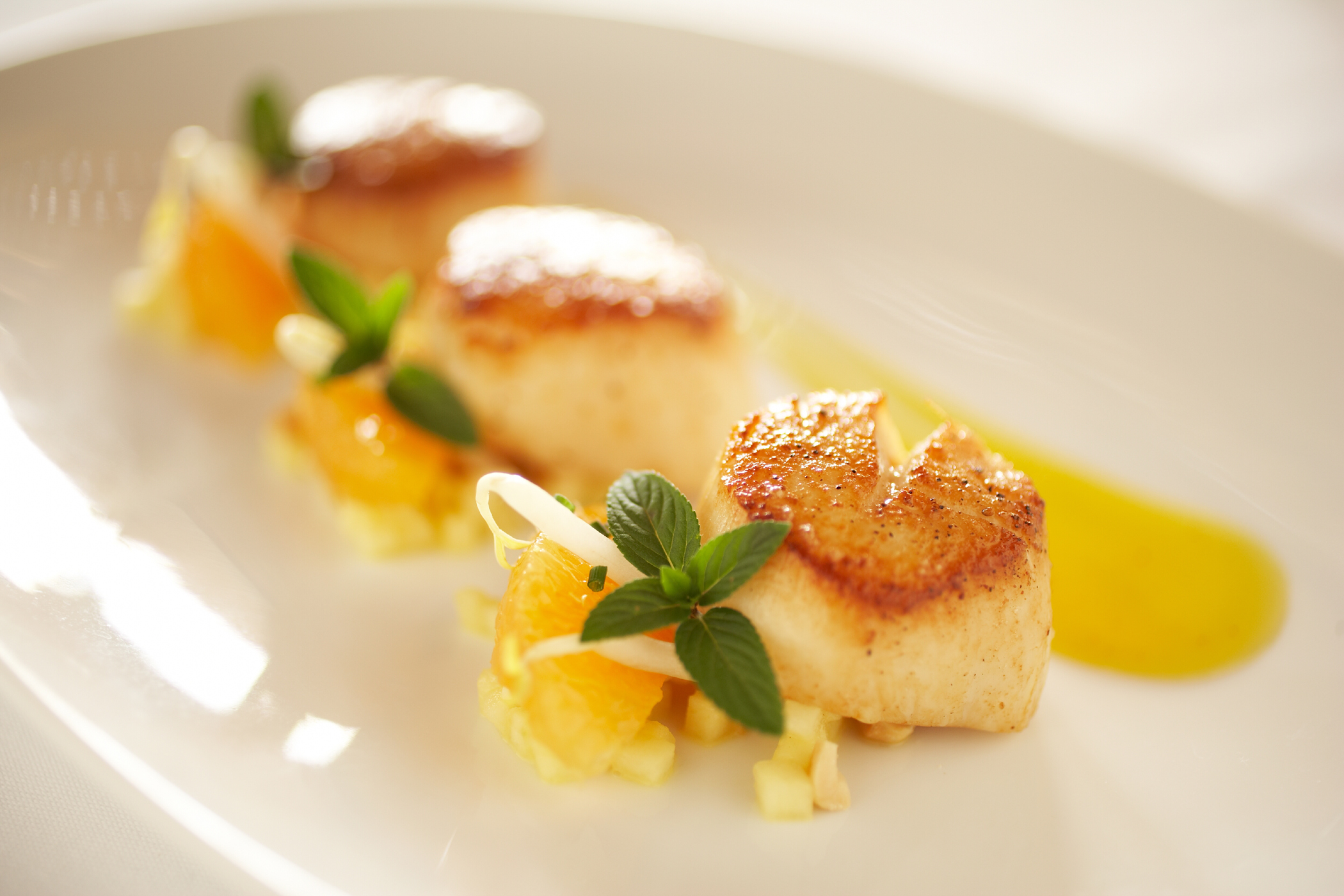 Perfectly Cooked Scallops at Auberge du Soleil Restaurant