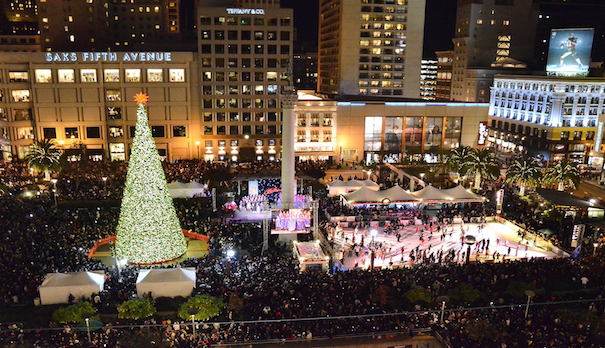 union square is alight for the holidays