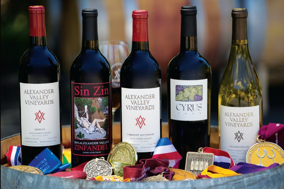 A Sampling of Alexander Valley Vineyards' Award-Winning Wines
