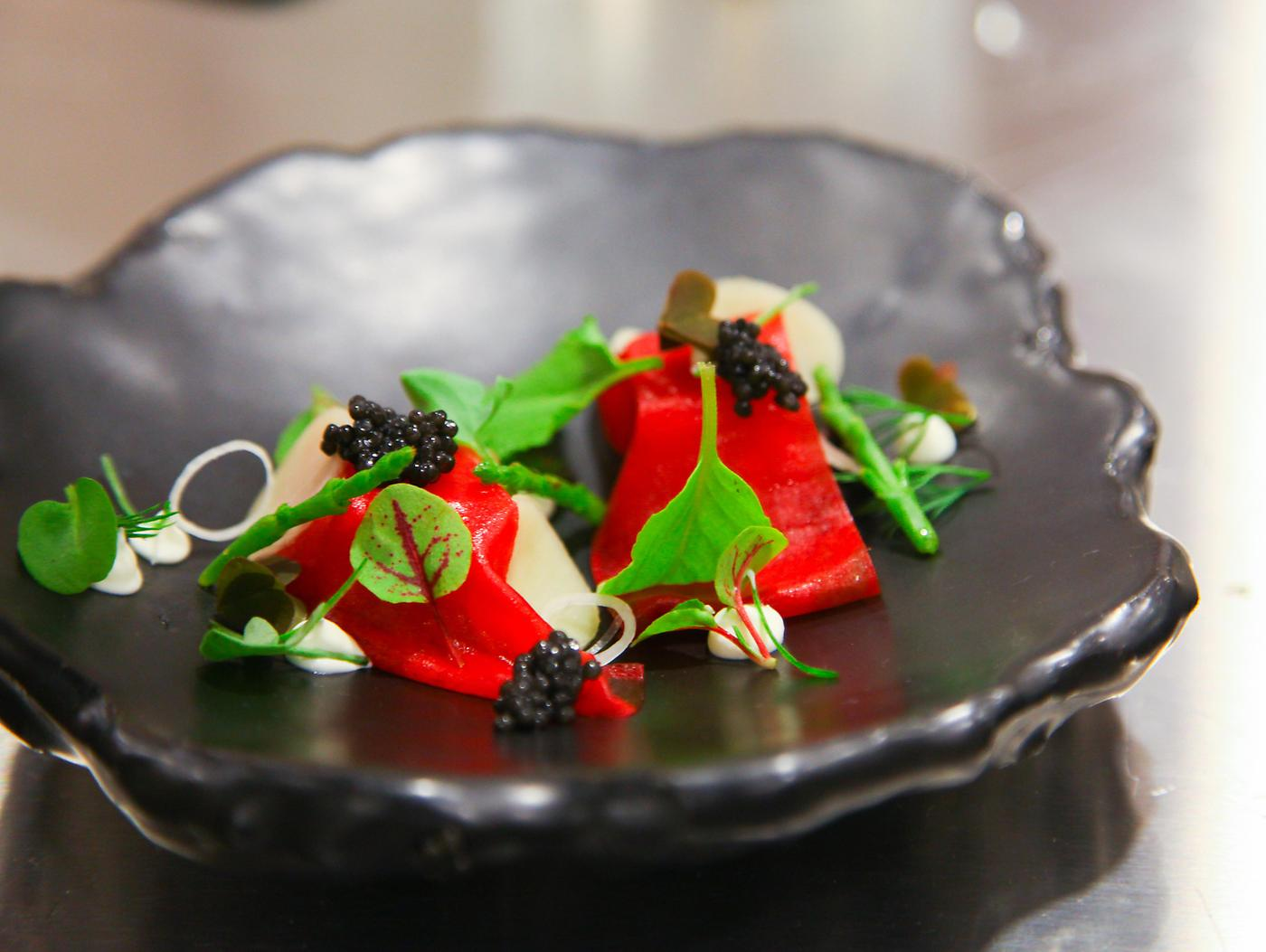 The Restaurant at Meadowood, This Lovely Dish is Pine-Cured Venision with Tuna & Assorted Sorrels