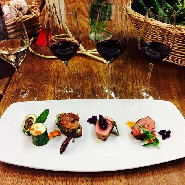 A Sample of a Wine & Food Pairing at Peju Created by Chef Alex Espinoza